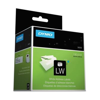 Picture of DYMO LabelWriter Address Labels, 1-1/8in x 3-1/2in, White, 350 Labels/Roll, 2 Rolls/Pack