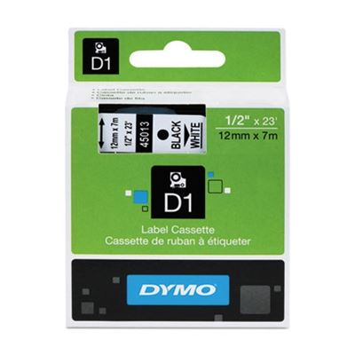 Picture of DYMO D1 Polyester High-Performance Removable Label Tape, 1/2in x 23ft, Black on White