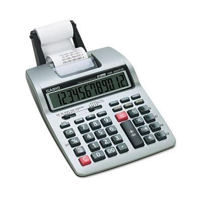 Picture of Casio HR-100TM Two-Color Portable Printing Calculator, Black/Red Print, 2 Lines/Sec