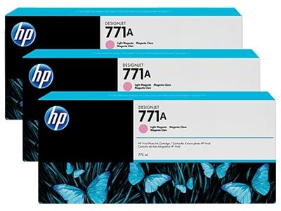 Picture of HP 771 3-Pack Cartridges for Designjet Z6200- Light Magenta
