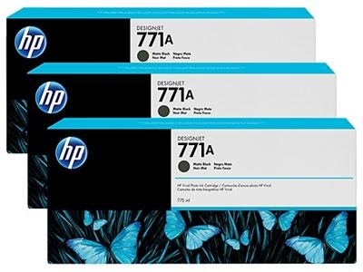 Picture of HP 771 3-Pack Cartridges for Designjet Z6200- Matte Black