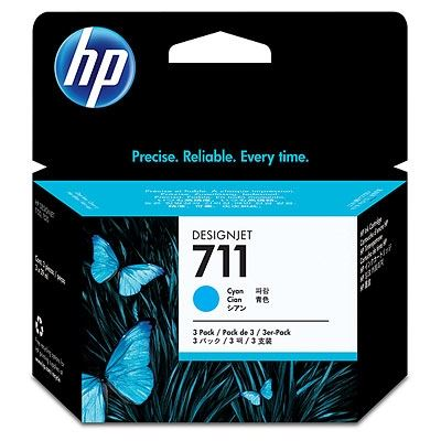 Picture of HP 711 3-Pack Ink Cartridges for Designjet ePrinter- Cyan (29 mL)