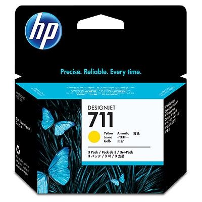 Picture of HP 711 3-Pack Ink Cartridges for Designjet ePrinter- Yellow (29 mL)