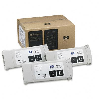 Picture of HP 81 Black Dye Ink Cartridge 3-Pack for Designjet 5000/5500