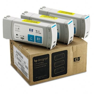 Picture of HP 81 Cyan Dye Ink Cartridge 3-Pack for Designjet 5000/5500