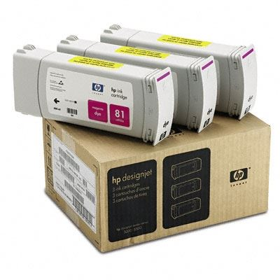 Picture of HP 81 Magenta Dye Ink Cartridge 3-Pack for Designjet 5000/5500