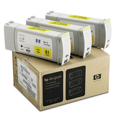 Picture of HP 81 Yellow Dye Ink Cartridge 3-Pack for Designjet 5000/5500