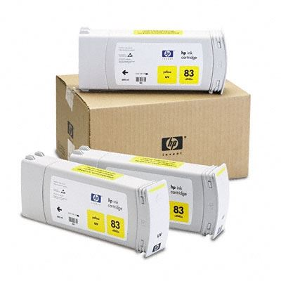 Picture of HP 83 Yellow UV Ink Cartridge 3-Pack for Designjet 5000/5500