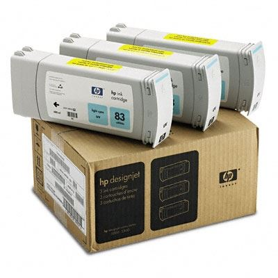 Picture of HP 83 Light Cyan UV Ink Cartridge 3-Pack for Designjet 5000/5500