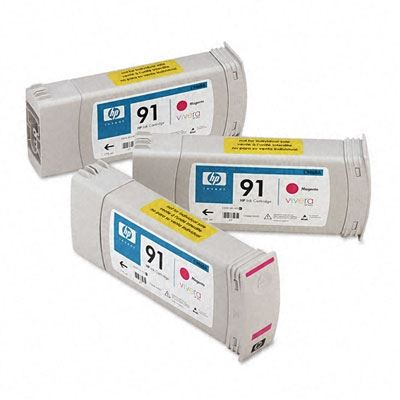 Picture of HP 91 3-Pack Cartridges for Designjet Z6100 w/ Vivera Ink