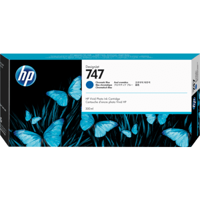 Picture of HP 747 Chromatic Blue Ink Cartridge for DesignJet Z9+ (300mL)