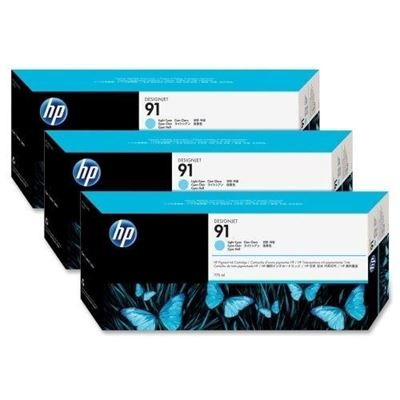 Picture of HP 91 Light Cyan Ink Cartridges for Designjet Z6100, 3 Pk