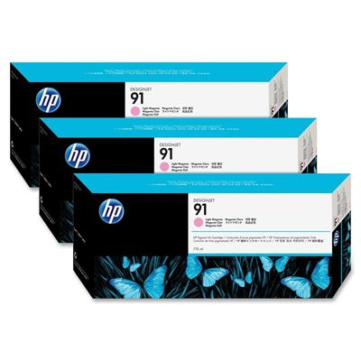 Picture of HP 91 Light Magenta Ink Cartridges for Designjet Z6100 , 3 Pk