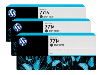 Picture of HP 771 3-Pack Cartridges for Designjet Z62xx, Z66xx & Z68xx w/Vivid Photo Ink