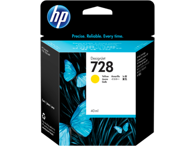 Picture of HP 728 40ml Yellow Ink Cartridge for T730/T830 Series Printers