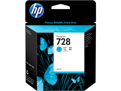 Picture of HP 728 40ml Cyan Ink Cartridge for T730/T830 Series Printers