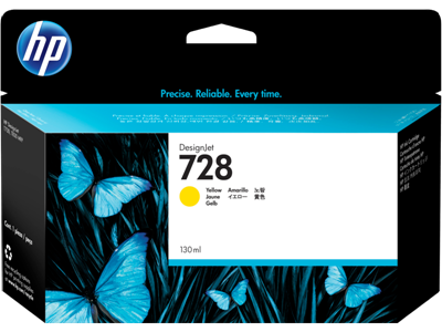 Picture of HP 728 130ml Yellow Ink Cartridge for T730/T830 Series Printers