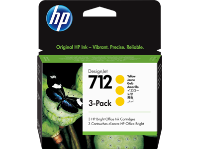 Picture of HP 712 29ml Yellow Ink Cartridge - 3 Pack